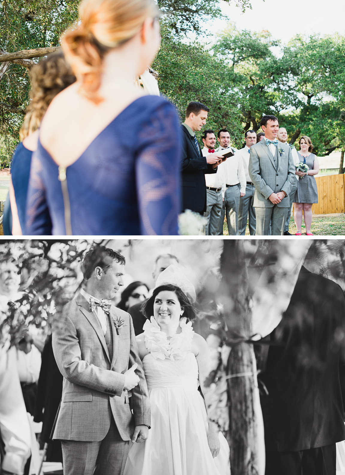 27 Bride And Groom Sneak A Look During Ceremony Austin Texas Wedding Photographers